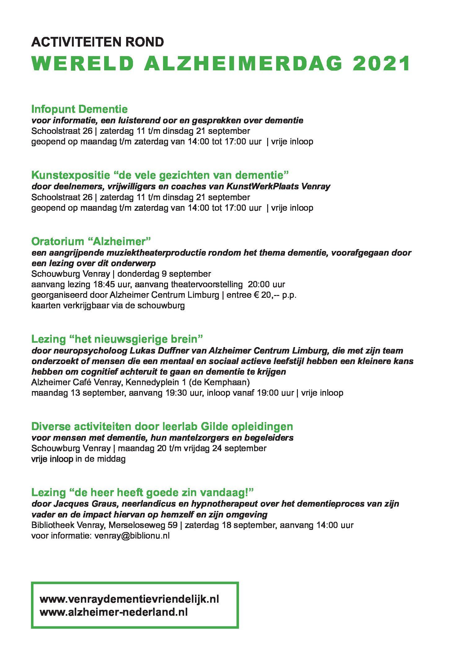 Programma rond Alzheimerdag in Venray